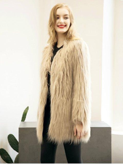 sale Open Front Fluffy Faux Fur Coat - LIGHT KHAKI 2XL Mobile