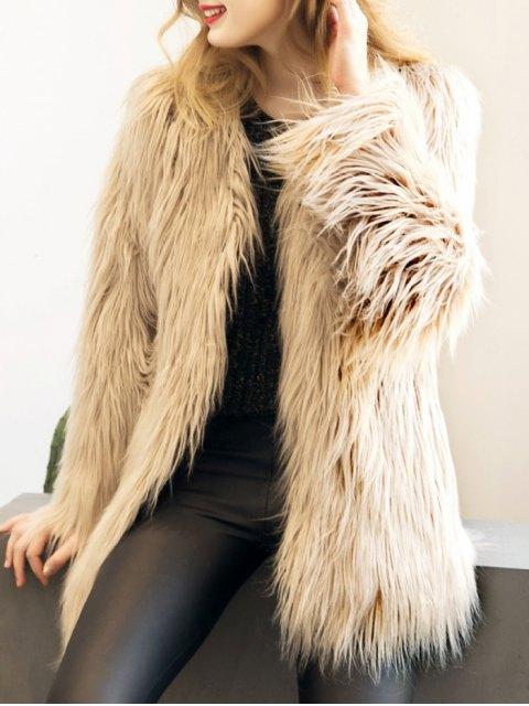 lady Open Front Fluffy Faux Fur Coat - LIGHT KHAKI M Mobile