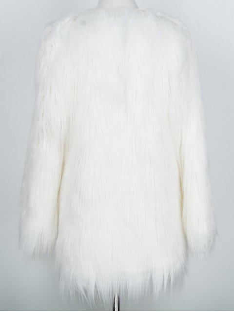 chic Open Front Fluffy Faux Fur Coat - WHITE M Mobile