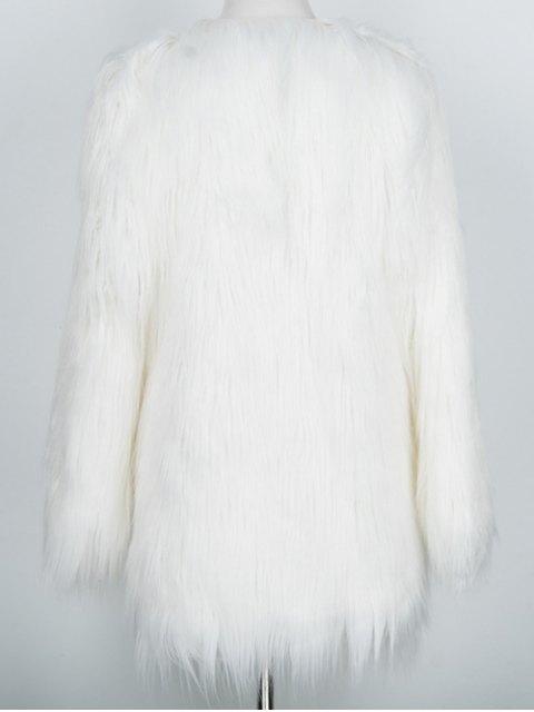 fashion Open Front Fluffy Faux Fur Coat - WHITE L Mobile