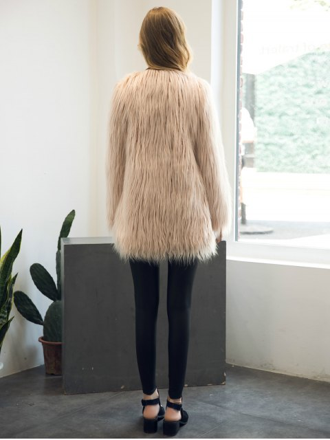 womens Open Front Fluffy Faux Fur Coat - NUDE PINK M Mobile