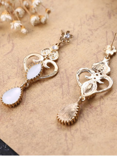 fashion Heart Water Drop Fake Opal Earrings - WHITE  Mobile