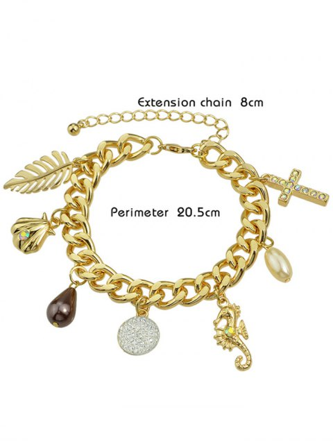 shops Rhinestone Leaf Cross Bracelet -   Mobile