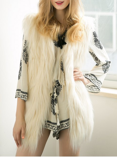trendy Thicken Solid Color Long Faux Fur Waistcoat -   Mobile