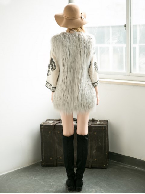 women Thicken Solid Color Long Faux Fur Waistcoat - GRAY L Mobile