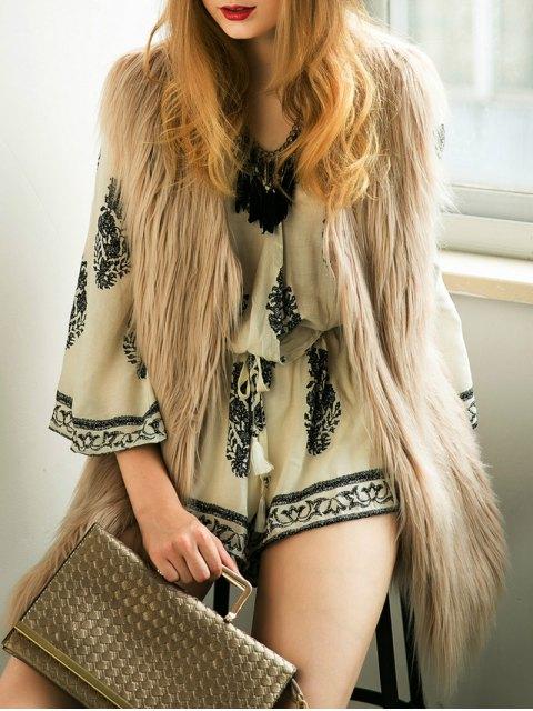 shop Thicken Solid Color Long Faux Fur Waistcoat -   Mobile