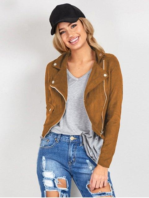 ladies Suede Lapel Collar Zipper Up Jacket - BROWN M Mobile