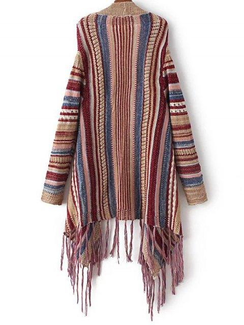 fancy Striped Tassels Spliced Asymmetric Cardigan - BROWN ONE SIZE Mobile