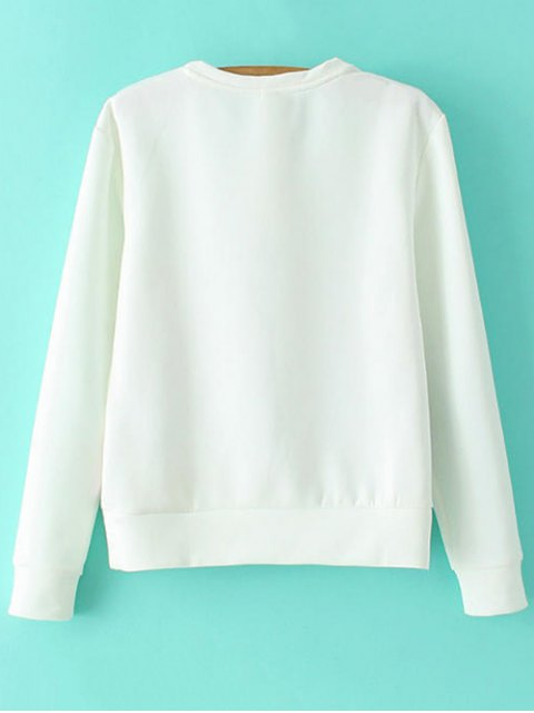 sale Round Neck Floral Sweatshirt - WHITE S Mobile
