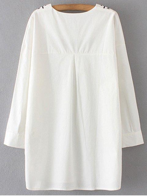 trendy Long Sleeve V Neck Straight Dress - WHITE L Mobile