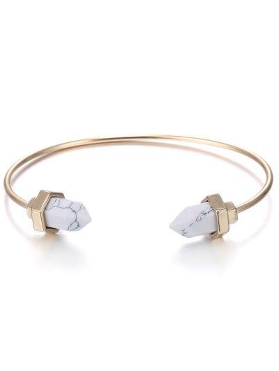 Faux Rammel Geometric Bracelet - WHITE AND GOLDEN  Mobile