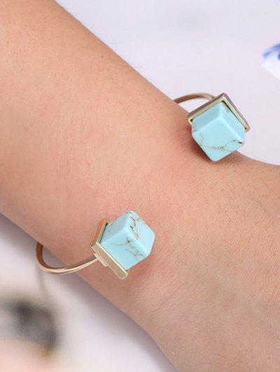 Square Faux Rammel Bracelet - GREEN  Mobile