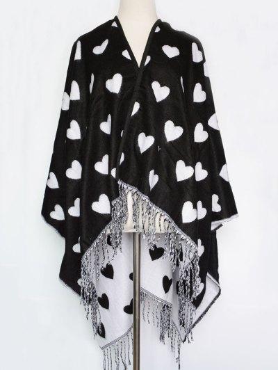 Sweet Heart Tassel Pashmina - BLACK  Mobile