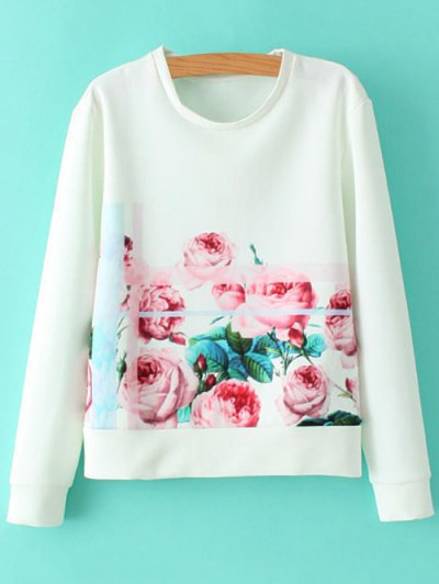 Round Neck Floral Sweatshirt - WHITE S Mobile
