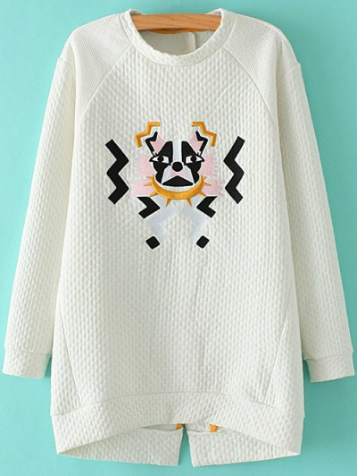 Cartoon Embroidered Stand Neck Sweatshirt - WHITE M Mobile