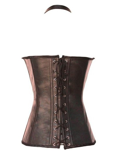 Gothic Lace Up Halter Latex Corset - COFFEE M Mobile