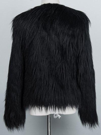 Fluffy Faux Fur Coat - BLACK 3XL Mobile