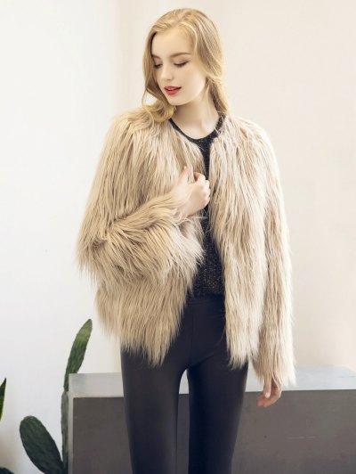 Fluffy Faux Fur Coat - LIGHT KHAKI S Mobile