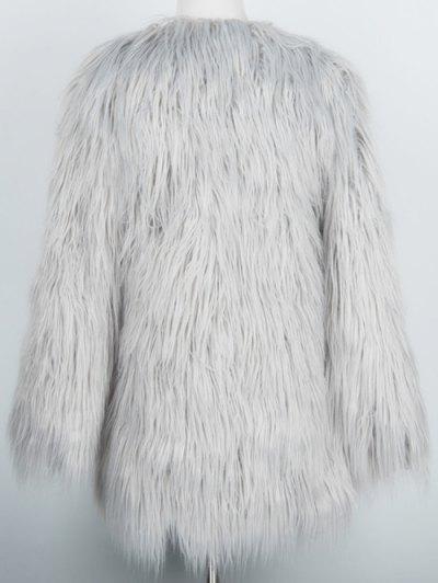 Open Front Fluffy Faux Fur Coat - LIGHT GRAY XL Mobile