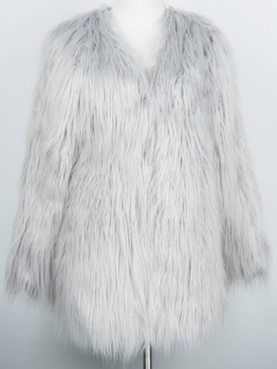 Open Front Fluffy Faux Fur Coat - LIGHT GRAY S Mobile