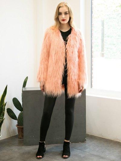 Open Front Fluffy Faux Fur Coat - PEACH PINK L Mobile