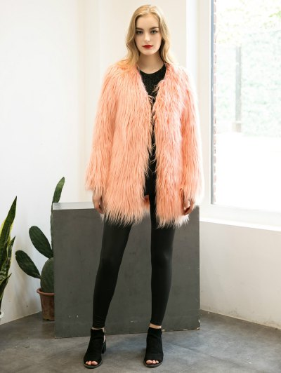 Open Front Fluffy Faux Fur Coat - PEACH PINK M Mobile