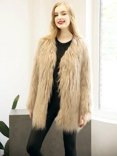Open Front Fluffy Faux Fur Coat - LIGHT KHAKI 2XL Mobile