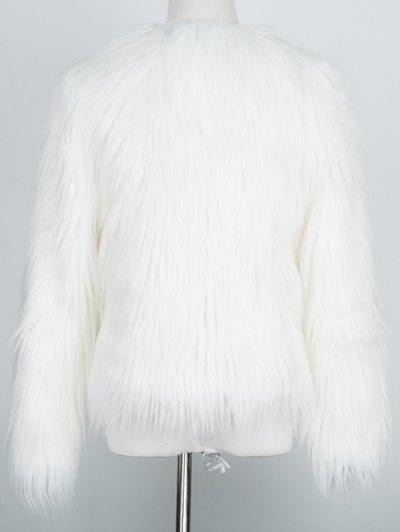 Fluffy Faux Fur Coat - WHITE 2XL Mobile