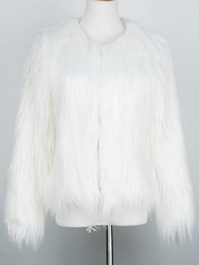Fluffy Faux Fur Coat - WHITE L Mobile