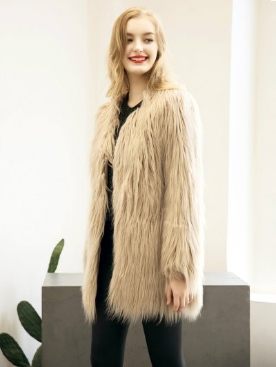 Open Front Fluffy Faux Fur Coat - LIGHT KHAKI M Mobile