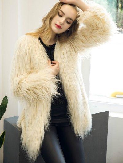 Open Front Fluffy Faux Fur Coat - BEIGE 3XL Mobile