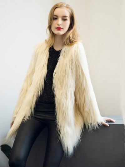 Open Front Fluffy Faux Fur Coat - BEIGE XL Mobile