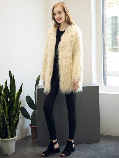 Open Front Fluffy Faux Fur Coat - BEIGE S Mobile