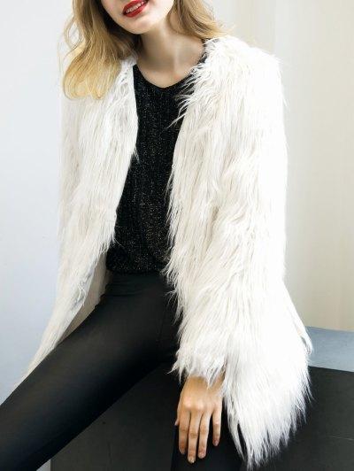 Open Front Fluffy Faux Fur Coat - WHITE S Mobile