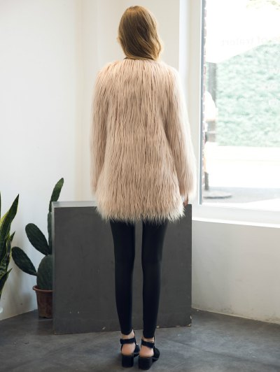 Open Front Fluffy Faux Fur Coat - NUDE PINK 3XL Mobile