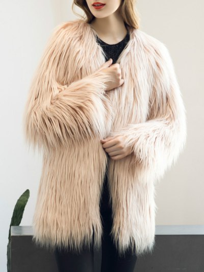 Open Front Fluffy Faux Fur Coat - NUDE PINK 2XL Mobile