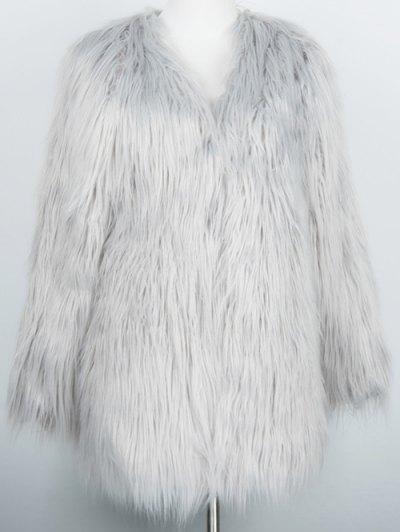 Open Front Fluffy Faux Fur Coat - LIGHT GRAY L Mobile