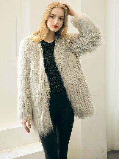 Open Front Fluffy Faux Fur Coat - LIGHT GRAY M Mobile