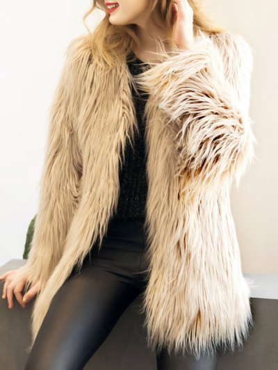 Open Front Fluffy Faux Fur Coat - LIGHT KHAKI L Mobile