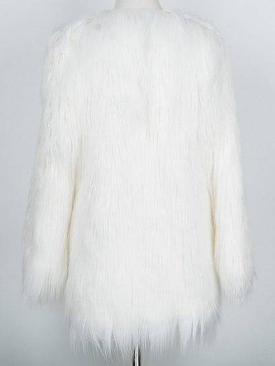 Open Front Fluffy Faux Fur Coat - WHITE L Mobile