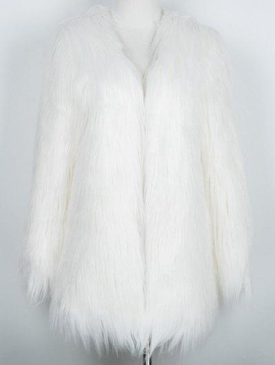 Open Front Fluffy Faux Fur Coat - WHITE M Mobile