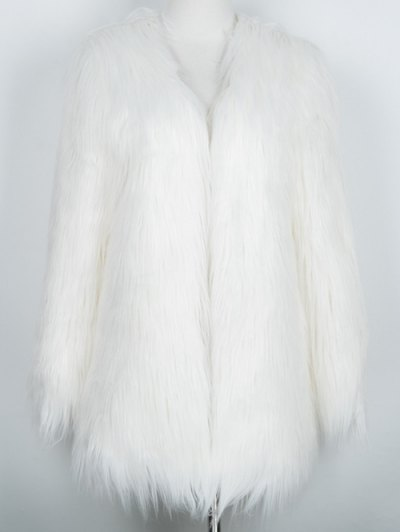 Open Front Fluffy Faux Fur Coat - WHITE S Mobile