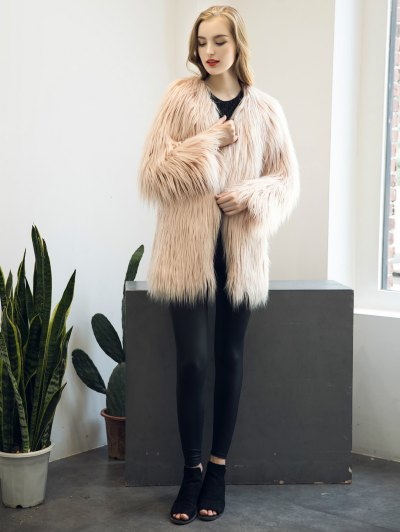 Open Front Fluffy Faux Fur Coat - NUDE PINK M Mobile