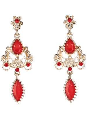 Fake Ruby Water Drop Earrings - Red