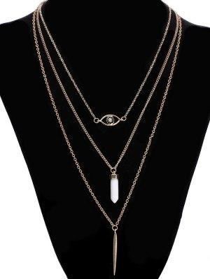 Rhinestone Eye Bullet Layered Necklace - Golden