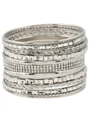 Rhinestone Layered Bracelets - Silver