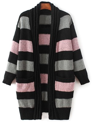 Striped Long Sleeve Thicken Cardigan - Pink