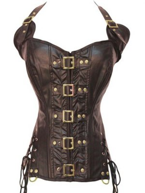 Gothic Lace Up Halter Latex Corset - Coffee