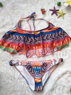 Ethnic Print Halter Ruffles Bikini Set - Colorful L