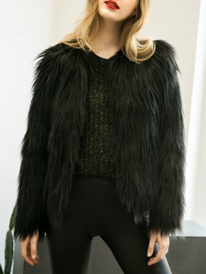 Fluffy Faux Fur Coat - Black